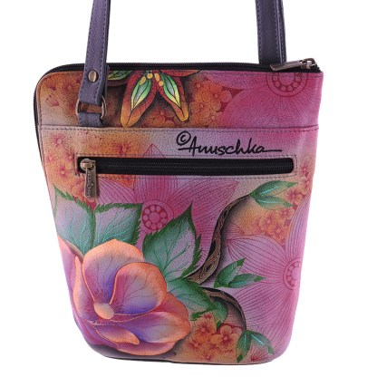 Anuschka Cross Body Travel Organizer Hand Painted Blissful Birds