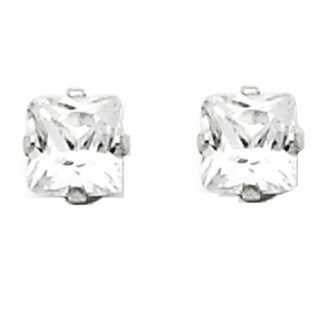 Sterling Silver Princes Cut Square CZ 4*4 MM Post Earrings Snap Closure Gift Box