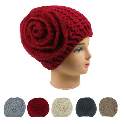Silver Fever Crochet Hat Winter Beanie with Flower