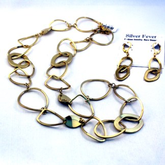 Open Sculptured Oval Link 18Kt Gold Plated Necklace SET