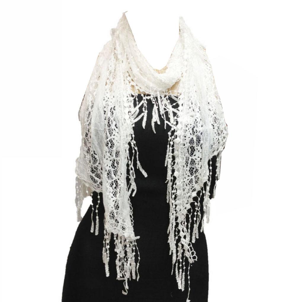 Silver Fever Elegant Vintage Skinny Lace Scarf Sheer Black