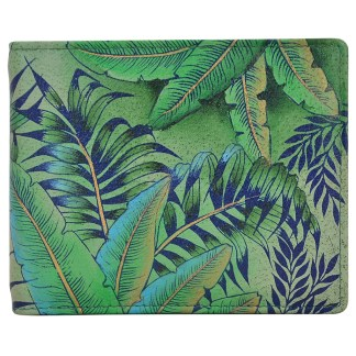 Anuschka Leather RFID Men's Two Fold Wallet with Insert Hand Painted  Tropical Iland