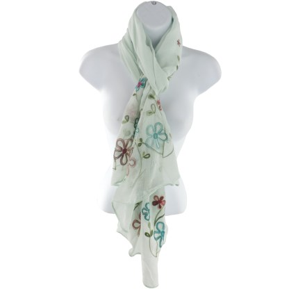 Silver Fever Floral Embroidery Light Scarf Shawl Wrap