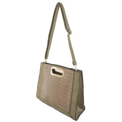Silver Fever® Classic Cluch Shoulder Cross Body Bag Handbag Beige