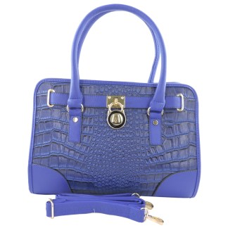 Silver Fever® Belted CrockTote Handbag with Lock Cobalt Blue
