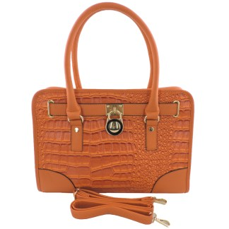 Silver Fever® Belted CrockTote Handbag with Lock Bright Orange