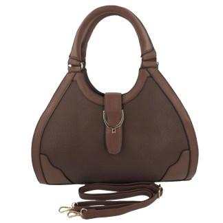 Silver Fever® Classic Satchel Gold Detail HandbagBrown