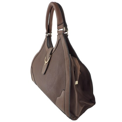 Silver Fever® Classic Satchel Gold Detail Handbag Brown