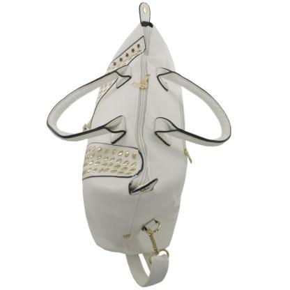 Silver Fever® Doctor's Satchel Studded V-Shape Deatil White
