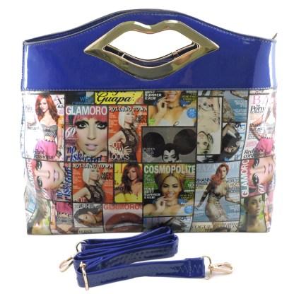 Silver Fever® Novelty Print Fashion Clutch Shoulder Bag Multicolor & Blue