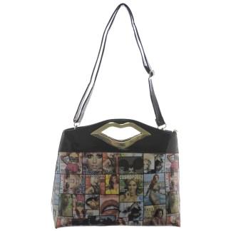 Silver Fever® Novelty Print Fashion Clutch Shoulder Bag Multicolor & Black