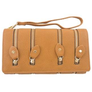 Silver Fever 4-Zip Wristlet Wallet Clutch Bag Camel
