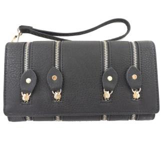 Silver Fever 4-Zip Wristlet Wallet Clutch Bag Black