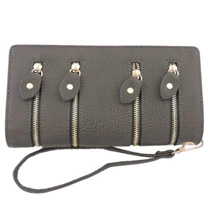 Silver Fever 4-Zip Wristlet Wallet Clutch Bag Charcoal