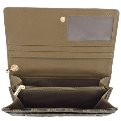 Fashion Signature Print Wristlet Wallet Clutch Bag Coffee