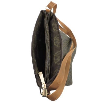 Large Tablet Messenger Cross Body Bag Assimetrical Flap White Camel