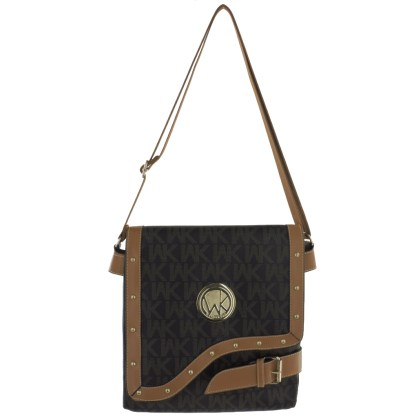 Large Tablet Messenger Cross Body Bag Assimetrical Flap Coffee Camel