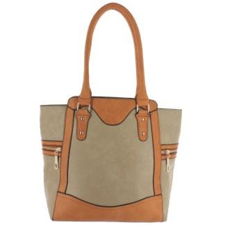 Silver Fever® Business Tote Zipside Handbag Beige Camel