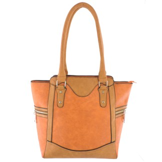 Silver Fever® Business Tote Zipside Handbag Orange Camel