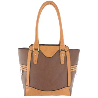 Silver Fever® Business Tote Zipside Handbag Brown Camel