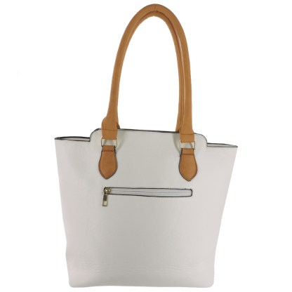 Silver Fever® Business Tote Zipside Handbag White Camel