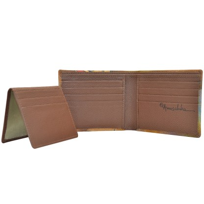 Anuschka Leather RFID Men's Two Fold Wallet with Insert Hand Painted Desert Safari