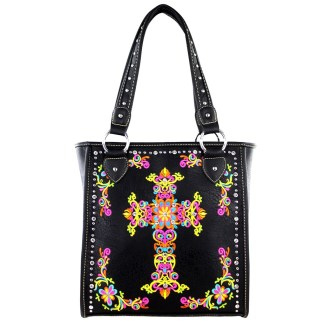 Montana West Western Collection Tall Tote  Handbag Black  w Cross Embroidery