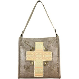 Montana West Spiritual Bling Collection ,Grey w Vintage Cross