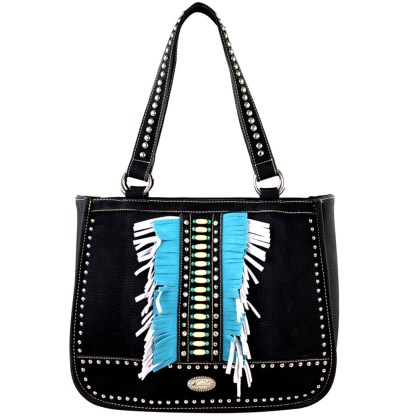Montana West Western Collection Tall Tote Handbag Black with Fringe