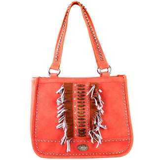 Montana West Western Collection Tall Tote  Handbag Coral with Fringe
