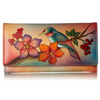 Anna by Anuschka Ladies Wallet Checkbook Bird on Brunch