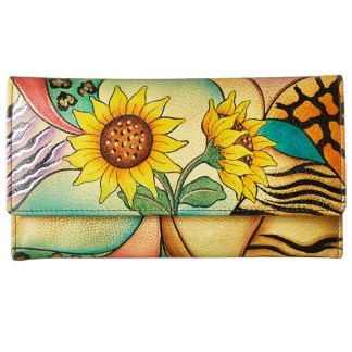 Anna by Anuschka Ladies Wallet Checkbook Sunflower Safari