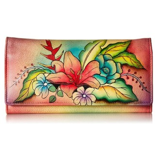 Anna by Anuschka Ladies Wallet Multi Pocket Tropical Bouquet