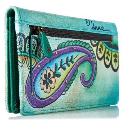 Anna by Anuschka Ladies Wallet 2 Fold 3 ID Floral Paisley Spearmint
