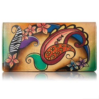 Anna by Anuschka Ladies Wallet 2 Fold 3 ID Paisley Collage