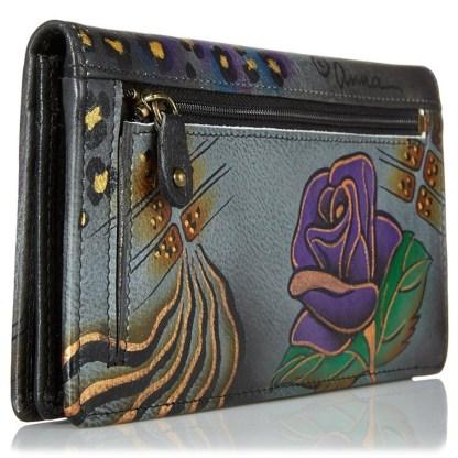 Anna by Anuschka Ladies Wallet 2 Fold 3 ID Rose Safari Gray