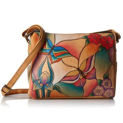 Anna by Anuschka Shoulder Handbag Twin Top Butterfly Glass Painting