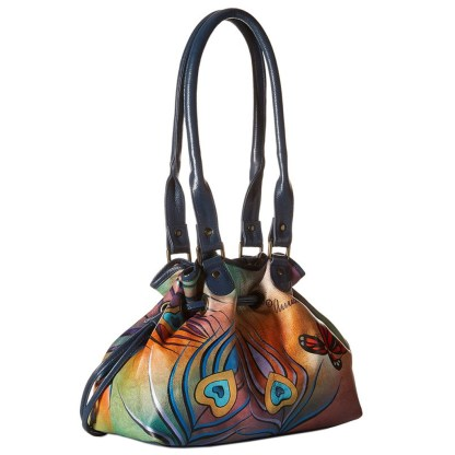 Anna by Anuschka Tote Handbag Drawstring Flying Peacock