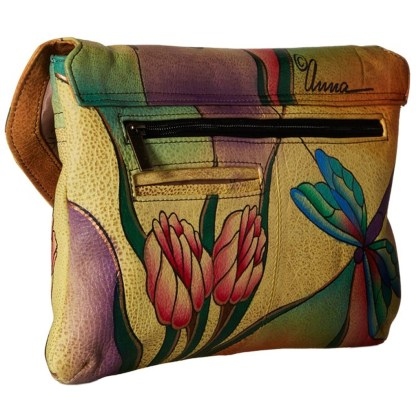 Anna by Anuschka Shoulder Cross Body Bag E-W Dragonfly Glass Painting