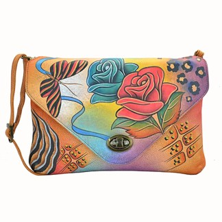 Anna by Anuschka Shoulder Cross Body Bag E-W Rose Safari