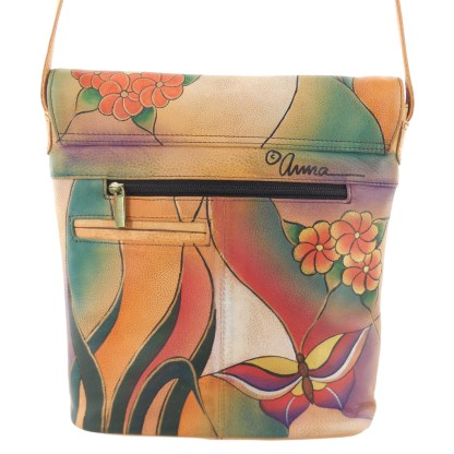 Anna by Anuschka Shoulder Cross Body Bag Tall w Flap Butterfly Glass Painting