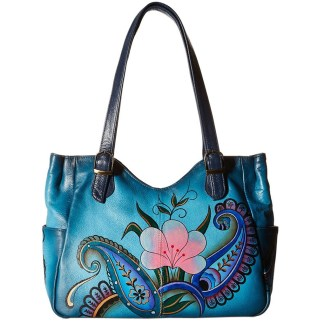 Anna by Anuschka Tote Handbag Medium Denim Paisley Floral