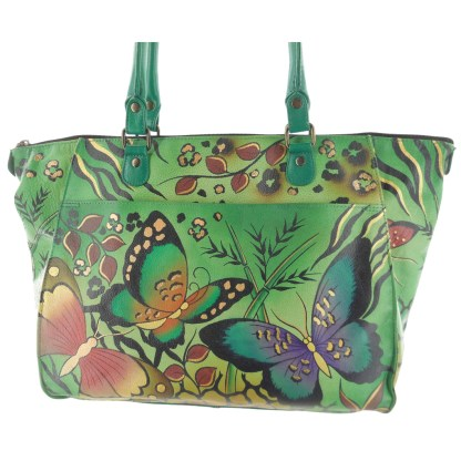 Anna by Anuschka Tote Handbag Large Shopper Animal Butterfly