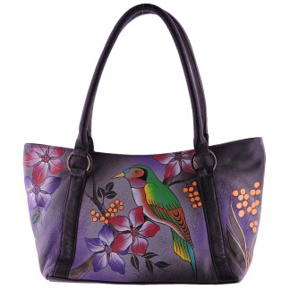 Anna by Anuschka Tote Handbag Zip Top Bird on Brunch Gray