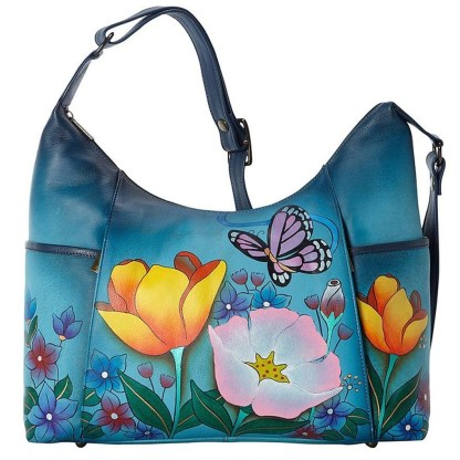 Anna by Anuschka Hobo Hanbdag Tall Floral Garden Denim