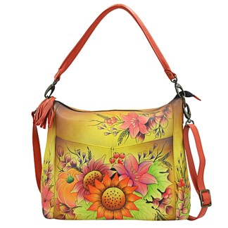 Anna by Anuschka Hobo Hanbdag Convertible 2 Zip Floral Bouquet