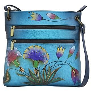 Anna by Anuschka Shoulder Cross Body Bag Medium-4 Turquish garden Denim