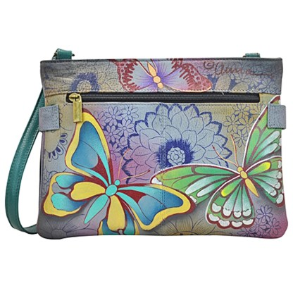 Anna by Anuschka Shoulder Cross Body Bag Medium-3 Butterfly Paradise
