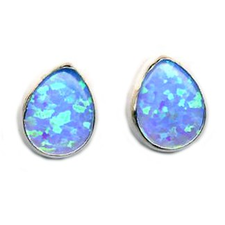 STERLING SILVER 925 TEARDROP BLUE OPAL POST Earrings