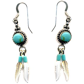 Feather Dangle Rope Beaded Genuine Turquoise Stones Sterling Silver